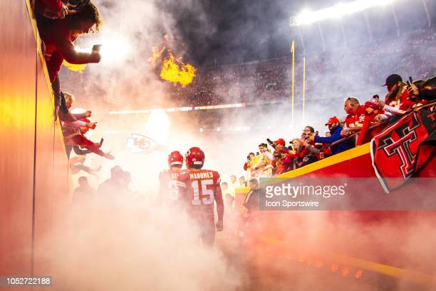Kansas City Chiefs quarterback Patrick Mahomes enters the field prior to the NFL football game against the Cincinnati Bengals on October 21 2018 at...