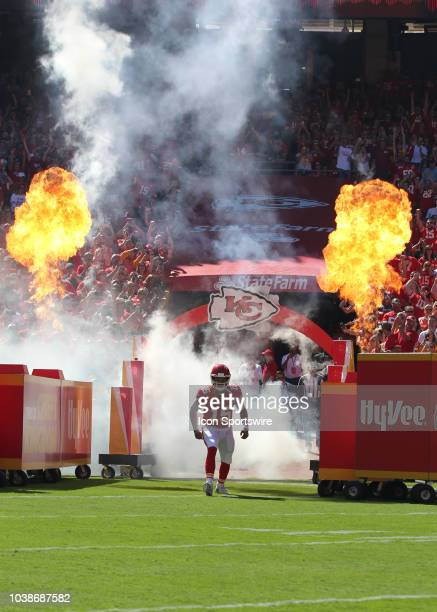 Kansas City Chiefs quarterback Patrick Mahomes enters the field with fire and smoke behind him before a week 3 NFL game between the San Francisco...