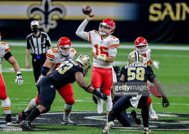 Kansas City Chiefs quarterback Patrick Mahomes fumbles the ball against New Orleans Saints defensive tackle David Onyemata on December 20, 2020 at...