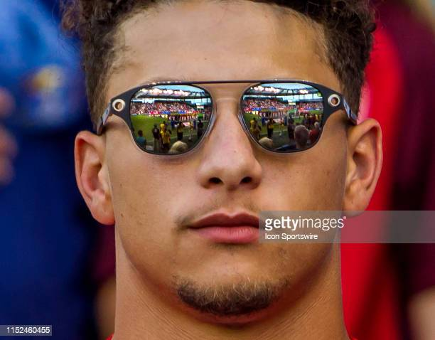 Kansas City Chiefs Quarterback Patrick Mahomes gazes upon the opening ceremonies of the CONCACAF Gold Cup match between the United States and Panama...
