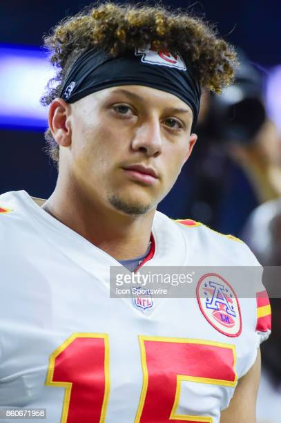 Kansas City Chiefs quarterback Patrick Mahomes II warms up before the football game between the Kansas City Chiefs and Houston Texans on October 8...