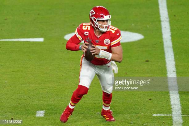 Kansas City Chiefs quarterback Patrick Mahomes in game action during the Super Bowl LIV game between the Kansas City Chiefs and the San Francisco...
