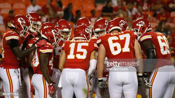Kansas City Chiefs quarterback Patrick Mahomes in the huddle in the first half of an NFL preseason game between the Tennessee Titans and the Kansas...