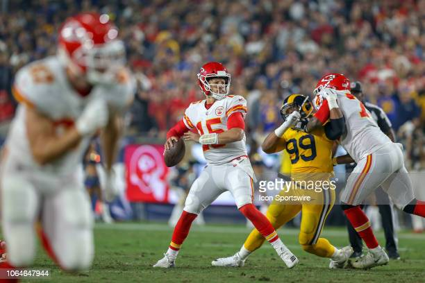 Kansas City Chiefs quarterback Patrick Mahomes in the pocket during a NFL game between the Kansas City Chiefs and the Los Angeles Rams on November 19...