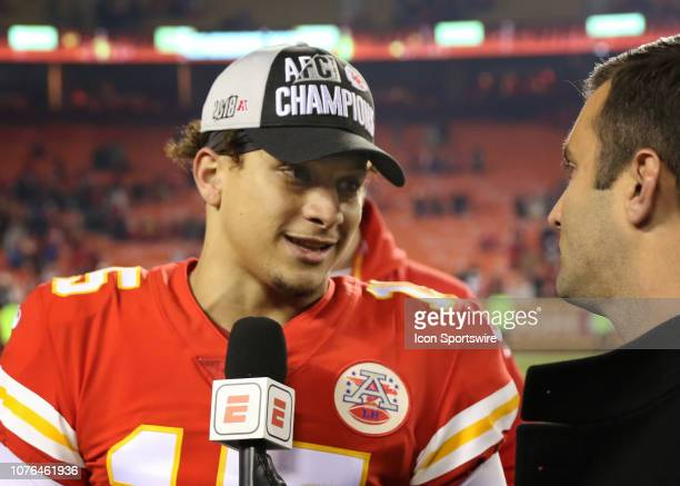 Kansas City Chiefs quarterback Patrick Mahomes is interview wearing an AFC West Champions hat after an NFL game between the Oakland Raiders and...