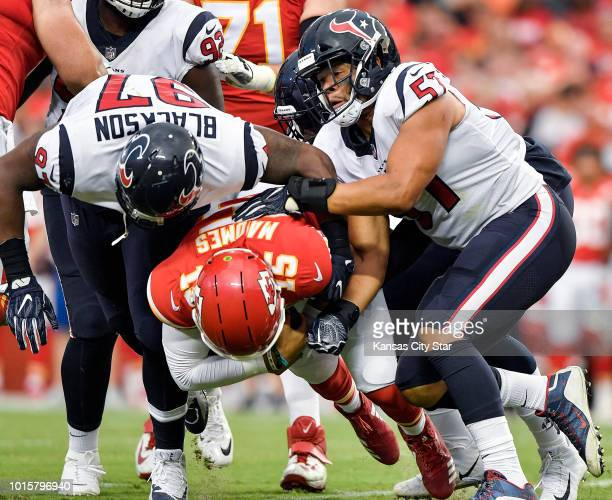 Kansas City Chiefs quarterback Patrick Mahomes is sacked by the Houston Texans defense in the first quarter on Thursday Aug 9 at Arrowhead Stadium in...