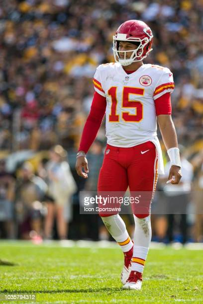 Kansas City Chiefs quarterback Patrick Mahomes looks on during the NFL football game between the Kansas City Chiefs and Pittsburgh Steelers on...