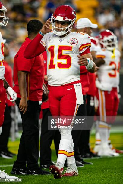 Kansas City Chiefs quarterback Patrick Mahomes looks on during the NFL football game between the Kansas City Chiefs and the Pittsburgh Steelers on...