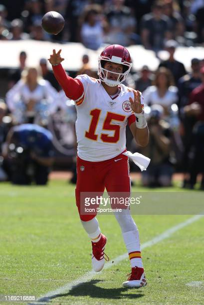 Kansas City Chiefs quarterback Patrick Mahomes looks to pass against the Oakland Raiders in an NFL game on September 15 at Oakland Alameda Coliseum...