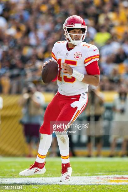 Kansas City Chiefs quarterback Patrick Mahomes looks to pass during the NFL football game between the Kansas City Chiefs and Pittsburgh Steelers on...