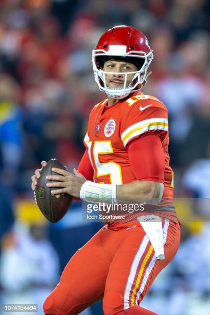 Kansas City Chiefs quarterback Patrick Mahomes looks to pass during the NFL AFC West game against the Los Angeles Chargers on December 13 2018 at...