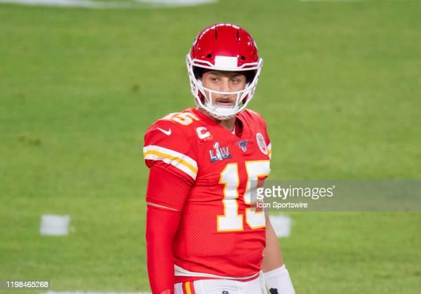 Kansas City Chiefs Quarterback Patrick Mahomes on the field during the NFL Super Bowl LIV game between the Kansas City Chiefs and the San Francisco...