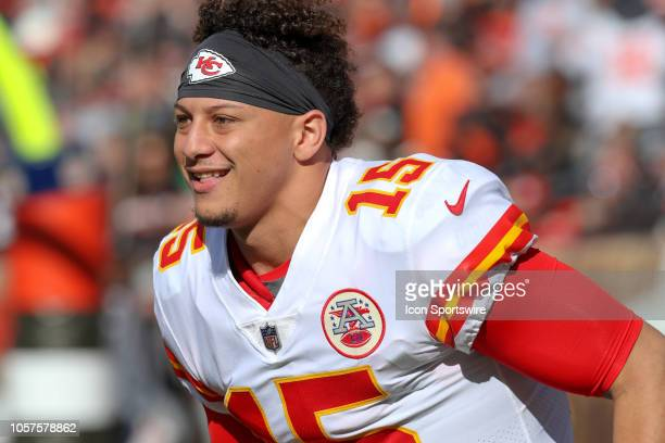 Kansas City Chiefs quarterback Patrick Mahomes on the field prior to the National Football League game between the Kansas City Chiefs and Cleveland...
