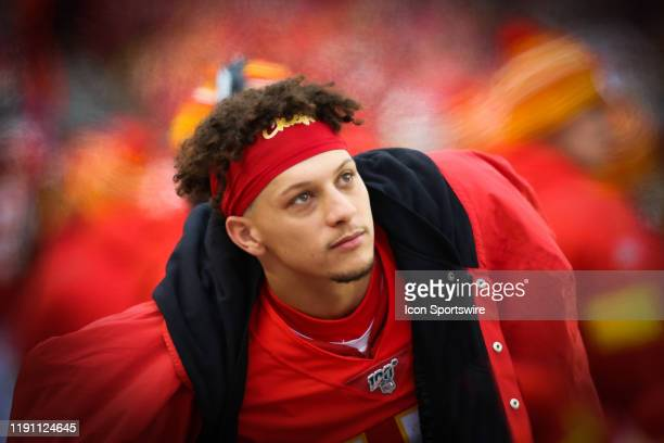 Kansas City Chiefs quarterback Patrick Mahomes on the sidelines during an AFC West game between the Los Angeles Chargers and Kansas City Chiefs on...