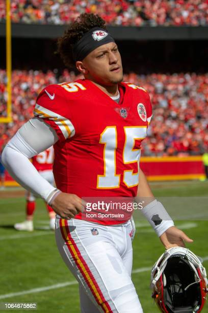 Kansas City Chiefs quarterback Patrick Mahomes on the sidelines during the NFL AFC West division football game against the Denver Broncos on October...