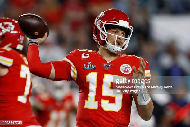 Kansas City Chiefs quarterback Patrick Mahomes passes against the San Francisco 49ers in the first quarter of Super Bowl LIV at Hard Rock Stadium in...