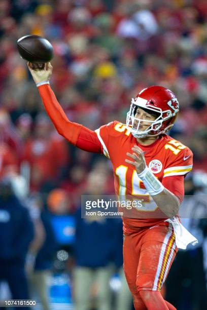 Kansas City Chiefs quarterback Patrick Mahomes passes during the NFL AFC West game against the Los Angeles Chargers on December 13 2018 at Arrowhead...