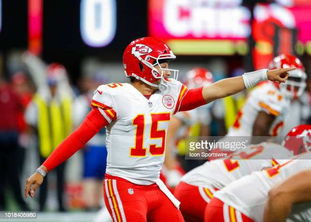 Kansas City Chiefs quarterback Patrick Mahomes points out a formation in an NFL preseason football game between the Kansas City Chiefs and Atlanta...