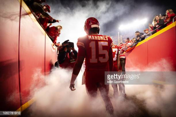Kansas City Chiefs quarterback Patrick Mahomes prepares to enter the field prior to the NFL football game against the Cincinnati Bengals on October...