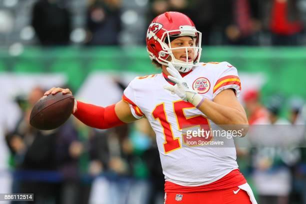 Kansas City Chiefs quarterback Patrick Mahomes prior to the National Football League game between the New York Jets and the Kansas City Chiefs on...