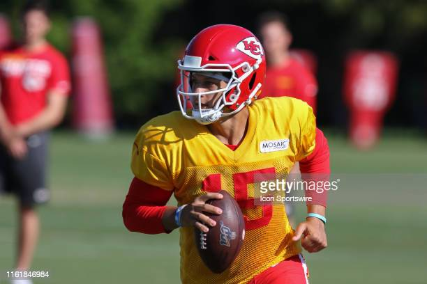 Kansas City Chiefs quarterback Patrick Mahomes rolls out during Chiefs training camp on August 14, 2019 at Missouri Western State University in St....