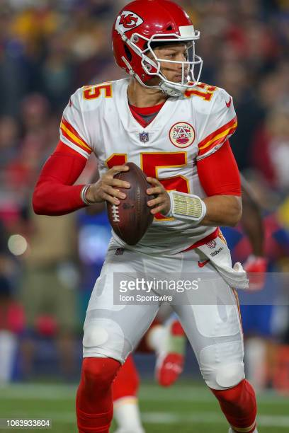 Kansas City Chiefs quarterback Patrick Mahomes runs out of the pocket during a NFL game between the Kansas City Chiefs and the Los Angeles Rams on...