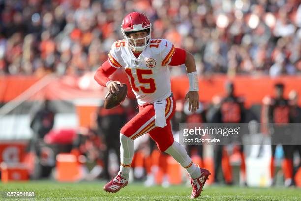 Kansas City Chiefs quarterback Patrick Mahomes runs with the football during the second quarter of the National Football League game between the...