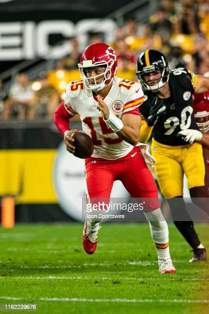 Kansas City Chiefs quarterback Patrick Mahomes scrambles with the ball during the NFL football game between the Kansas City Chiefs and the Pittsburgh...