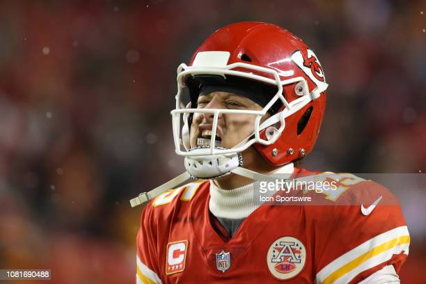 Kansas City Chiefs quarterback Patrick Mahomes screams in celebration after running back Darrel Williams scored on a 6yard touchdown run with 223...
