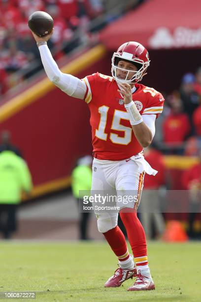 Kansas City Chiefs quarterback Patrick Mahomes throws a pass during a week 10 NFL game between the Arizona Cardinals and Kansas City Chiefs on...