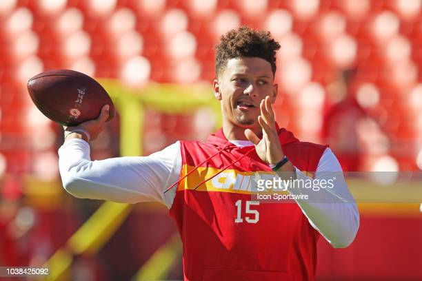 Kansas City Chiefs quarterback Patrick Mahomes throws a pass in warmups before a week 3 NFL game between the San Francisco 49ers and Kansas City...