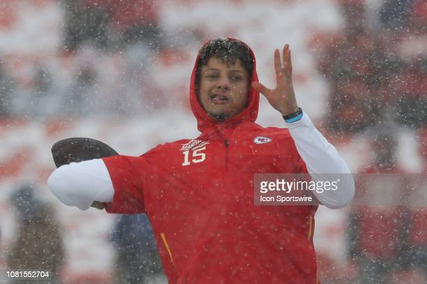 Kansas City Chiefs quarterback Patrick Mahomes throws a pass in the snow before an AFC Divisional Round playoff game game between the Indianapolis...