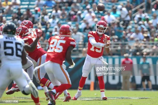 Kansas City Chiefs Quarterback Patrick Mahomes throws a pass to Kansas City Chiefs Running Back LeSean McCoy during the game between the Kansas City...