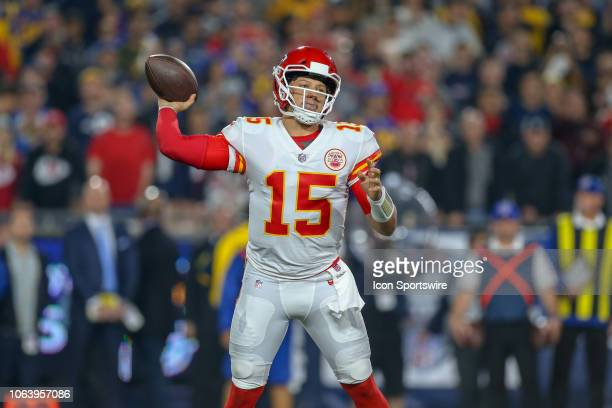 Kansas City Chiefs quarterback Patrick Mahomes throws the ball during a NFL game between the Kansas City Chiefs and the Los Angeles Rams on November...