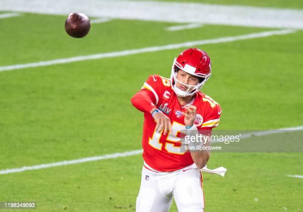 Kansas City Chiefs Quarterback Patrick Mahomes throws the ball during the NFL Super Bowl LIV game between the Kansas City Chiefs and the San...