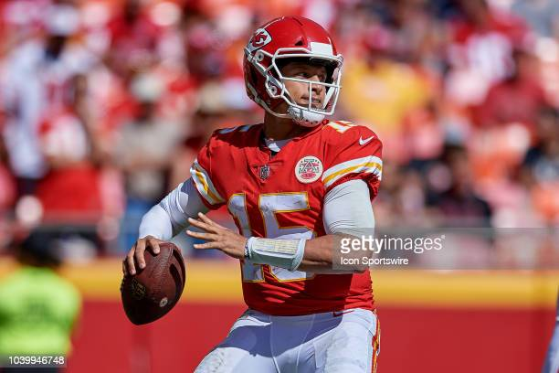 Kansas City Chiefs quarterback Patrick Mahomes throws the football in action during an NFL game between the San Francisco 49ers and the Kansas City...