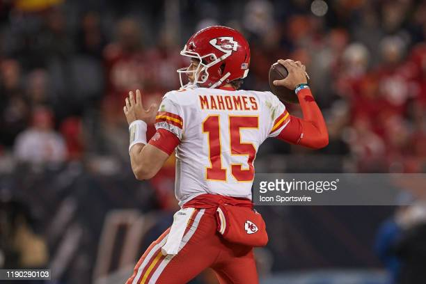 Kansas City Chiefs quarterback Patrick Mahomes throws the football in game action during an NFL game between the Chicago Bears and the Kansas City...