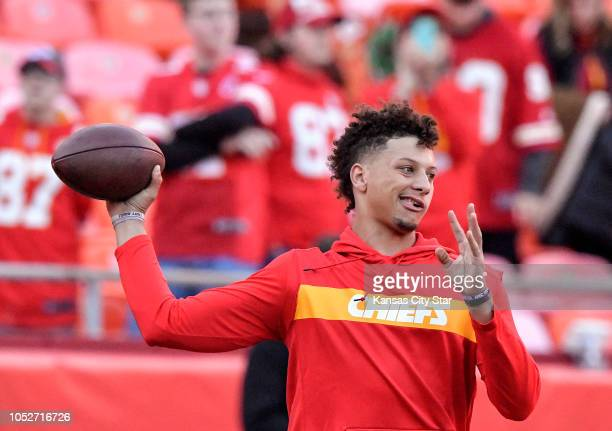 Kansas City Chiefs quarterback Patrick Mahomes warms up before a game against the Cincinnati Bengals on Sunday Oct 21 2018 at Arrowhead Stadium in...
