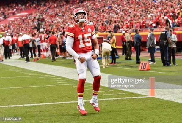 Kansas City Chiefs quarterback Patrick Mahomes yelled to the fans before Saturday's preseason game, Aug. 24 at Arrowhead Stadium.