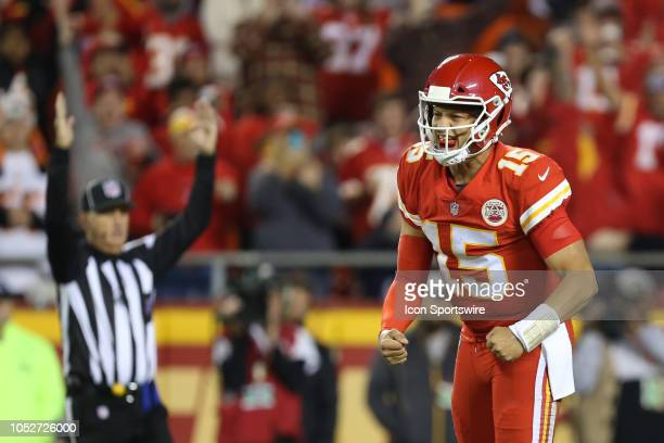 Kansas City Chiefs quarterback Patrick Mahomes yells in celebration after running back Kareem Hunt scored a touchdown on a 2yard run in the third...