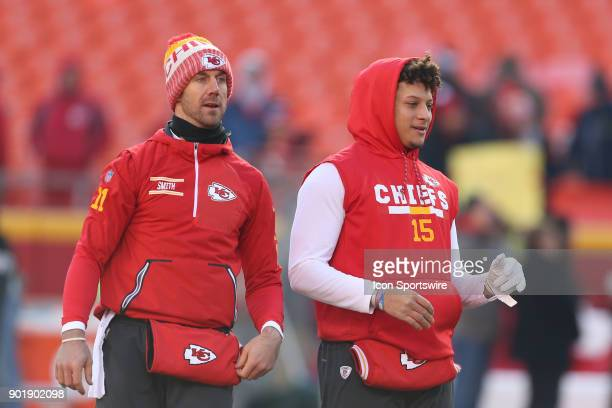 Kansas City Chiefs quarterbacks Alex Smith and Patrick Mahomes warm up before the AFC Wild Card game between the Tennessee Titans and Kansas City...