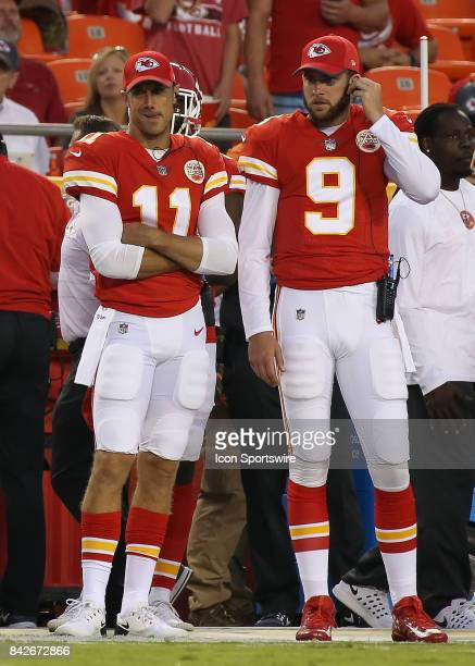 Kansas City Chiefs quarterbacks Alex Smith and Tyler Bray on the sideline in the first half of an NFL preseason game between the Tennessee Titans and...