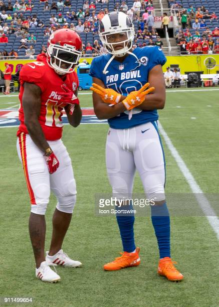 Kansas City Chiefs return specialist Tyreek Hill and Los Angeles Rams return specialist Pharoh Cooper During the NFL Pro Bowl match between the AFC...