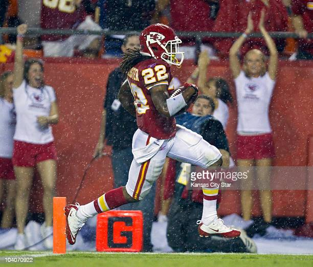 Kansas City Chiefs returner Dexter McCluster crosses the goal line for a 94-yard touchdown in the second quarter against the San Diego Chargers at...