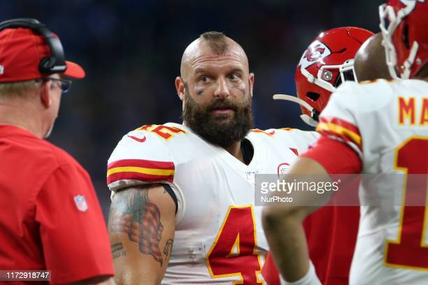 Kansas City Chiefs running back Anthony Sherman looks on during the first half of an NFL football game against the Detroit Lions in Detroit Michigan...
