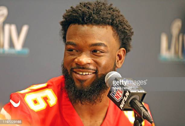 Kansas City Chiefs running back Damien Williams is interviewed by the media as the Chiefs prepare to play the San Francisco 49ers in Super Bowl LIV...