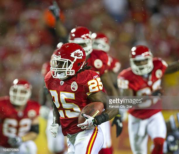 Kansas City Chiefs running back Jamaal Charles heads for the end zone to score in the first quarter against the San Diego Chargers at Arrowhead...