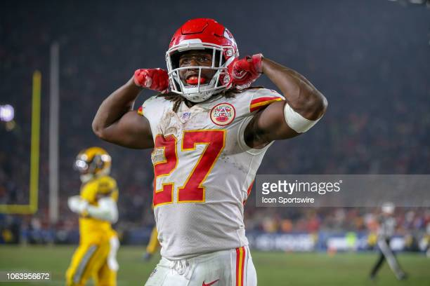 Kansas City Chiefs running back Kareem Hunt celebrates after his teammate scores during a NFL game between the Kansas City Chiefs and the Los Angeles...