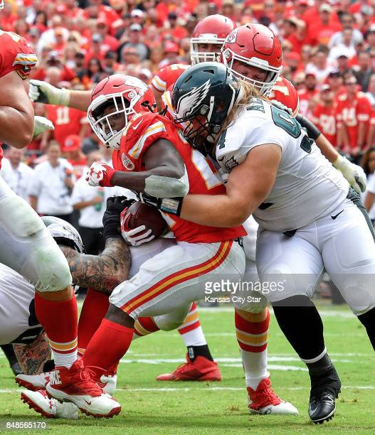 Kansas City Chiefs running back Kareem Hunt churns his way into the end zone for a touchdown in the fourth quarter against the Philadelphia Eagles on...