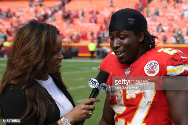 Kansas City Chiefs running back Kareem Hunt is interviewed by Fox Sports Pam Oliver after a week 2 NFL game between the Philadelphia Eagles and...